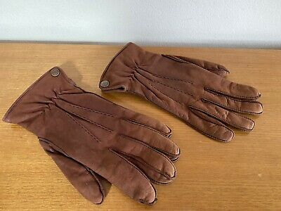 Dents Brown Suede Leather Gloves - Men's Medium - Excellent - Made in England