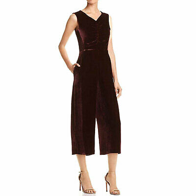Rebecca Taylor New With Tags Velvet Ruched Jumpsuit Bordeaux