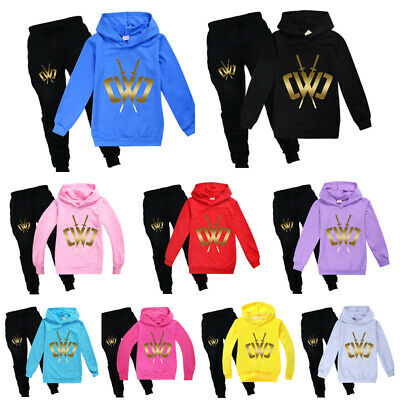 New Kids Golden logo Chad Wild Clay Boys Girls Casual Hoodies Pants Outfits UK