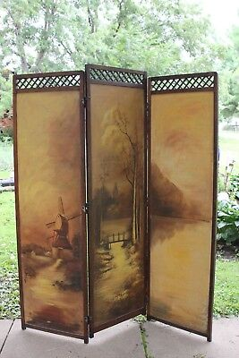 Antique Hand Painted Wood Arts and Crafts Dressing Screen Room Divider Mission