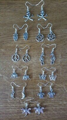 Dangle Drop Wicca Pagan Boho Chic Vintage Hippie Gypsy Tibetan Silver Earrings