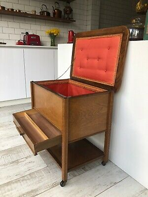 Mid Century Retro C Arnold Golden Oak Sewing Box Trolley Silk Lined Interior