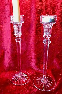 ROGASKA Pair CRYSTAL CANDLE HOLDERS Votive or Taper SLOVENIA 10""