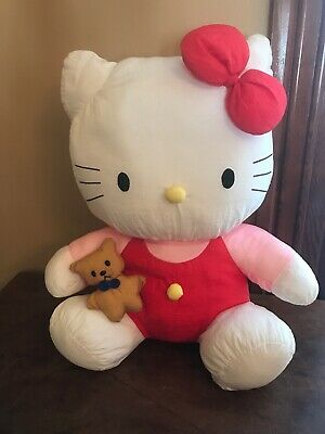 Vintage 1997 Nylon Plush Hello Kitty Cat W Teddy Bear Sanrio
