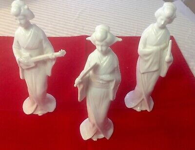 "White Porcelain 7"" Geisha figurines Lord & Taylor"