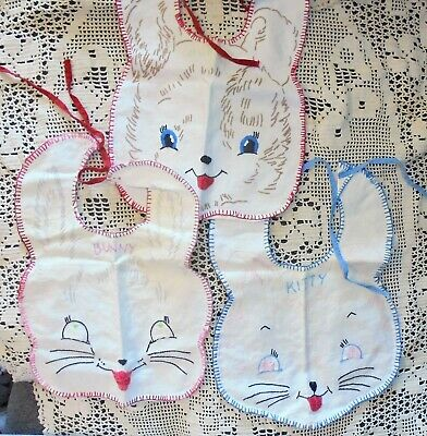 """Vintage 1940's 50's Hand Embroidered Bunny Rabbit-Kitty-Puppy Bibs 8X10"""""""