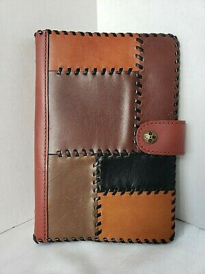 Patricia Nash Leather Planner A5 Organizer Brown Patchwork Snap