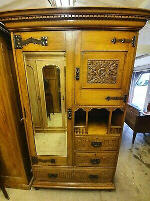 Arts & Crafts Carved Solid Oak Compactum Wardrobe