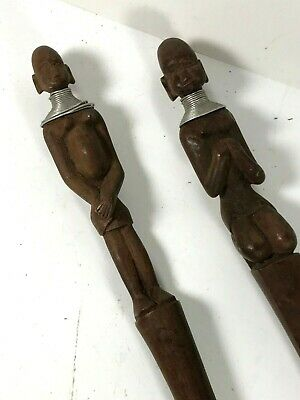 2x VINTAGE HAND CARVED WOODEN TRIBAL FIGURE HANDLED SPOON / FORK ITEMS (8/3)
