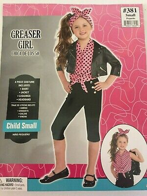 NWT Free Shipping Greaser Girl 50S CostumeSmall Black 4-6