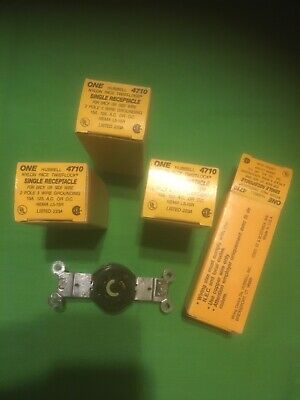 Lot of 4 new Hubbell HBL4710 Twist-Lock Single Receptacle 15A 125V 2 Pole 3 Wire