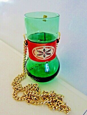 Vintage Green Glass Hanging Bowl Planter W/ Hand Painted Leather Band Made Italy
