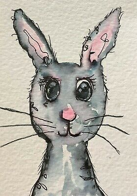 """Artist Trading Cards ACEO Cards Original Painting Bunny Rabbit 1    2.5"""" X 3.5"""""""