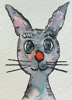 """Artist Trading Cards ACEO Cards Original Painting Bunny Rabbit 2.  2.5"""" X 3.5"""""""