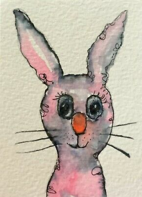 """Artist Trading Cards ACEO Cards Original Painting Bunny Rabbit 4.  2.5"""" X 3.5"""""""