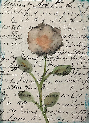 """Artist Trading Cards ACEO Cards Original Painting Rose 2.5"""" X 3.5"""""""
