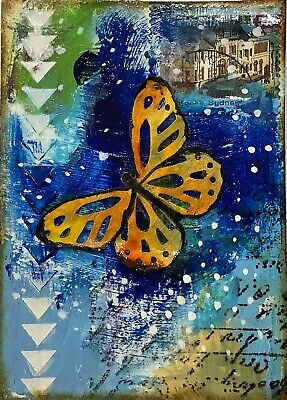 """Artist Trading Cards ACEO Cards Original Painting Butterfly 2.5"""" X 3.5"""""""