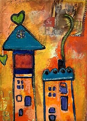 """Artist Trading Cards ACEO Cards Original Painting Whimsy Houses 2.5"""" X 3.5"""""""