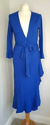 ISABELLA OLIVER Wrap Dress Maternity Blue Frill Hem Size 3 UK 12