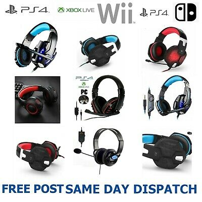 New Pro Stereo Surround Live Gaming Chat Headset For PS4 Wii XBOX One Switch