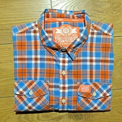 NEW SUPERDRY LONG SLEEVE RED PLAID DOUBLE STAR WORKER WEAR SHIRT