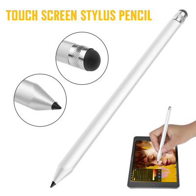 Silver 2 in1 Touch Screen Pen Stylus Fit iPhone iPad Samsung High Accuracy UK