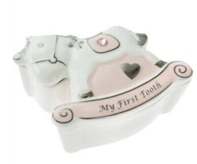 Personalised Tooth Fairy Ceramic Trinket Box Christening New Baby Gift First 1st