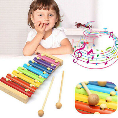 8 Tones Multicolor Xylophone Wood Musical Instrument Toys Baby Kids Toy Gifts