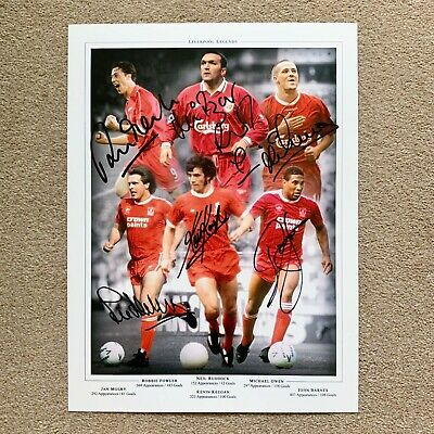 LIVERPOOL ANFIELD LEGENDS HAND SIGNED PHOTO AUTHENTIC + COA - 16x12