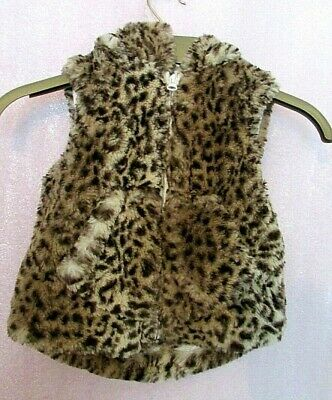 Brown Leopard 1 1/2 Years Kids Ear Hooded Zip Up Fluffy Gilet  - Next