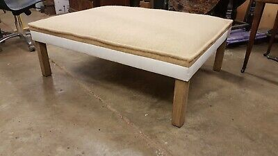 Large custom countryhouse footstool with bleached oak legs