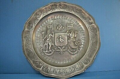 Large Antique Pewter/White Metal Commerative Plate,Liverpool Coat of Arms,c1890