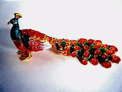 Peacock Jeweled Enamel Trinket Box Red Gold Green New In Gift Box