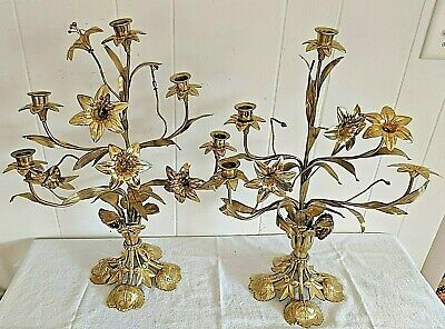 """Gorgeous Large 20"""" Pair of Ornate Antique French Brass Candelabras w/ Flowers"""