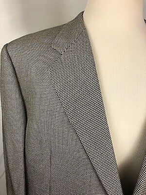 Hickey Freeman Mens Black And White Sport Jacket Size 46R Silk And Wool