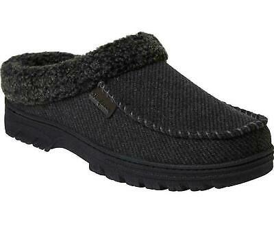 NEW!! Dearfoam Men's Black Memory Foam Breathable Washable Clog Slippers