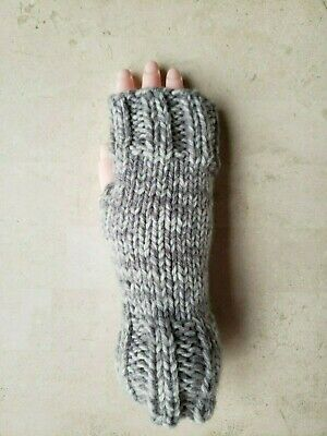 Hand Knit Fingerless Gloves- Wrist Warmers-Gray Marble Heavy Weight Mittens