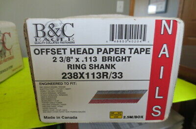 """B&C Eagle Offset Head 2000 ring Framing Nails, wire weld, 238X113/33, 2 3/8""""  FS"""