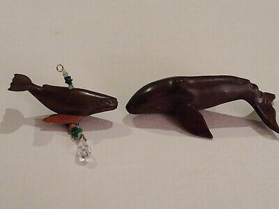 "Ironwood Carved Whales 5"" & 3 1/4"" Pendant W/ Crystal Teardrop"