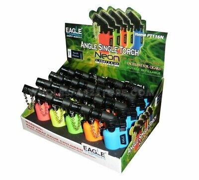 New 15 Pack Eagle Torch Gun Angle Single Flame PT101N Neon Ltd Edition Lighters