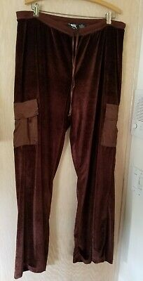 Planet Gold Women's Chocolate Brown Velour Cargo Style Wide Leg Pants Size 2X