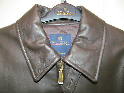 New $398 Mens Brooks Brothers Brown Soft Bomber Leather Zipper Lined Jacket-S