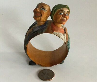 Vintage Anri Wooden Hand Carved Painted Man Woman Napkin Ring Italy MoveableHead