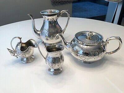 Sheffield Hand Engraved Silver Plate 4-Piece Tea/Coffee Set
