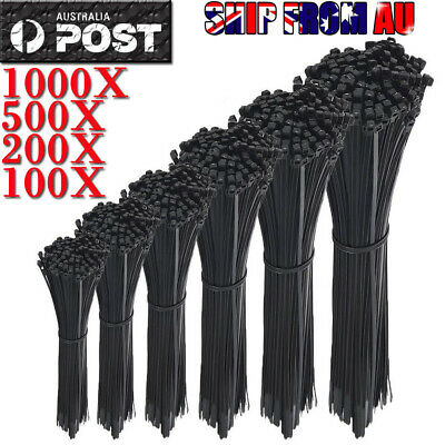 100-1000PCS Cable Ties Zip Ties Nylon UV Stabilised Bulk Black Cable Tie Black