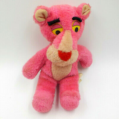 """Pink Panther 10"""" Plush Toy, Vintage 1980 Mighty Star Stuffed Animal"""