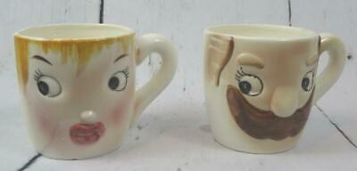 Vintage HIS & HERS Barber Shop Mustache Cup Anthropomorphic Coffee Mug Set