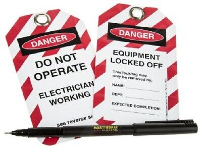 Martindale 'DO NOT OPERATE, ELECTRICIAN WORKING' TAGS 10Pcs For Lock-Off Kits