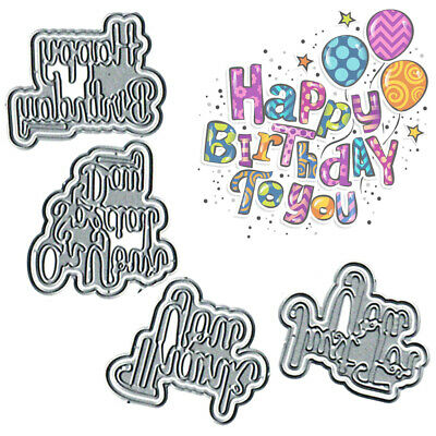 4Pcs Metal Cutting Dies Happy Birthday Stencil Embossing Scrapbooking Paper Card