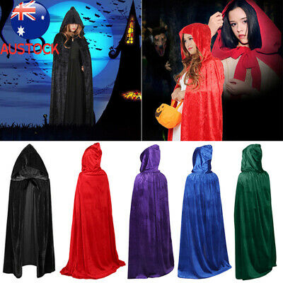 Halloween&Christmas Hooded Cloak Medieval COS Death Costume Witch Vampire Robe